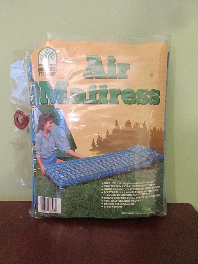 Vintage 80s Northwest Territory Twin Plaid Inflatible Camping Pool Air Mattress