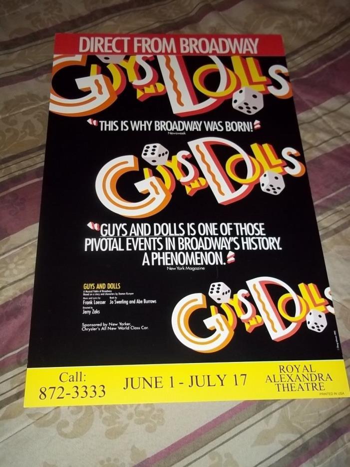 GUYS AND DOLLS, RARE 1995 Broadway Musical Tour Poster, Toronto