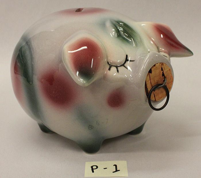 Hull Corky Pig Bank 1957 (#1) White, Maroon & Green
