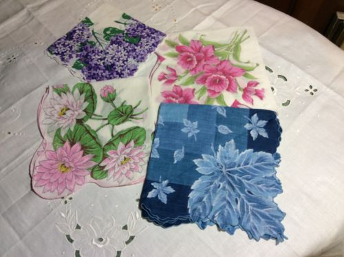 Vintage Hanky Lot Of 4