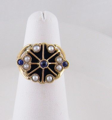 ANTIQUE  14 KARAT GOLD BLUE ENAMEL and SEED PEARLS  RING
