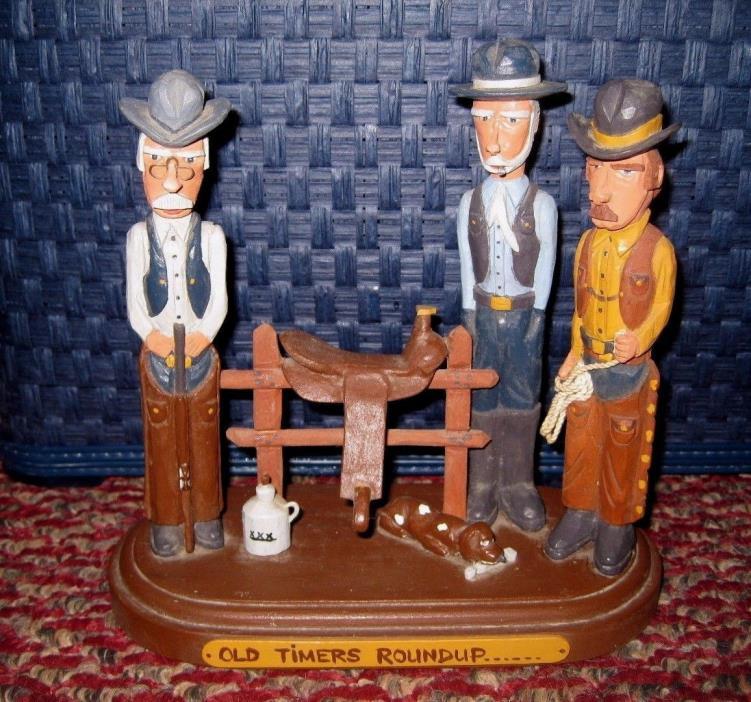 VINTAGE HAND CARVED WOOD FIGURINE FOLK ART Cowboys
