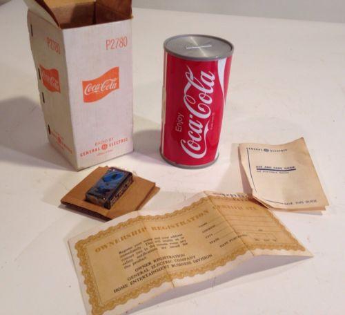 NOS New Vintage General Electric Coca Cola Coke Can AM Transistor Radio W/Box