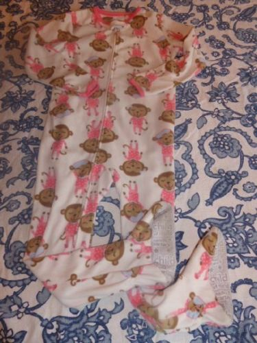 Child of Mine Carters 5T Girls Monkey Romper Feetie Footed Pajamas Sleepover