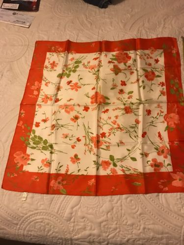 VINTAGE SCARF ACETATE ORANGE WHITE GREEN FLOWERS AND LEAVES