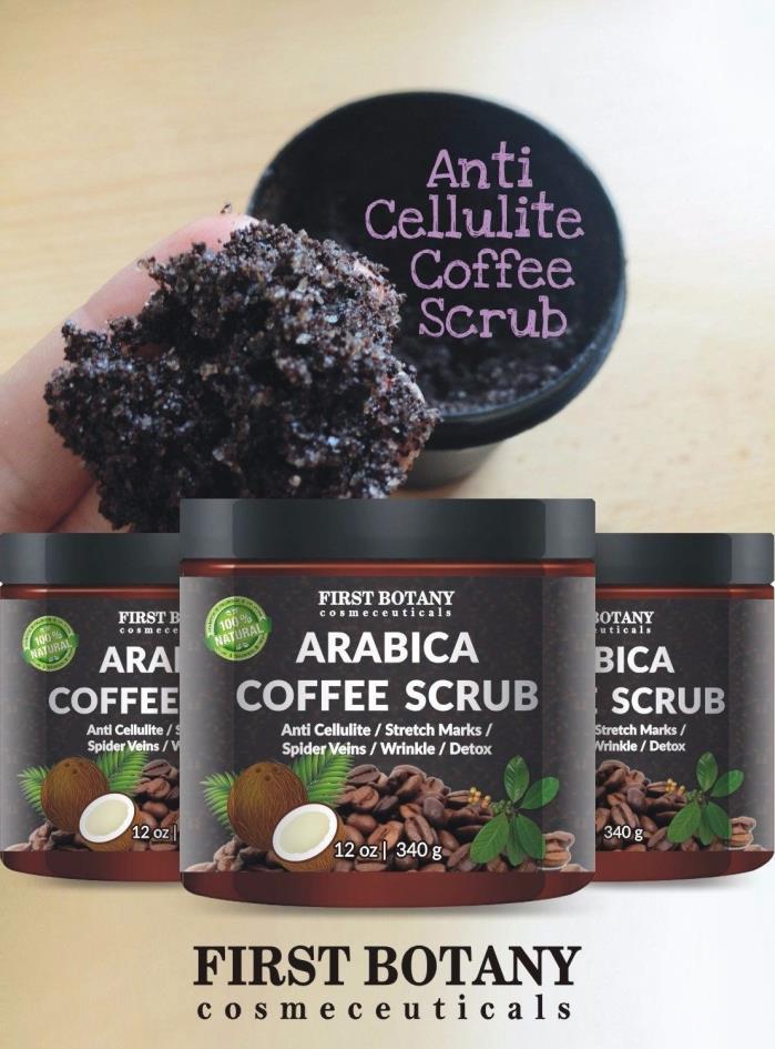 100% Natural Arabica Coffee Scrub 12 oz. with Organic Coffee,Coconut&Shea Butter