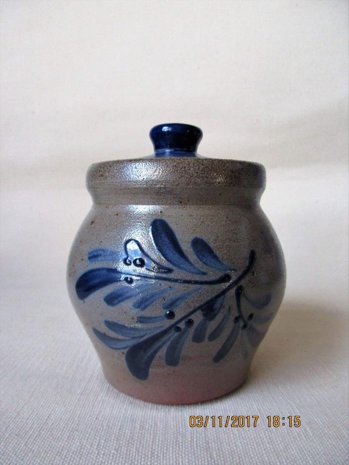 ROWE POTTERY Works Salt Glazed Sugar Bowl With Lid...Excellent