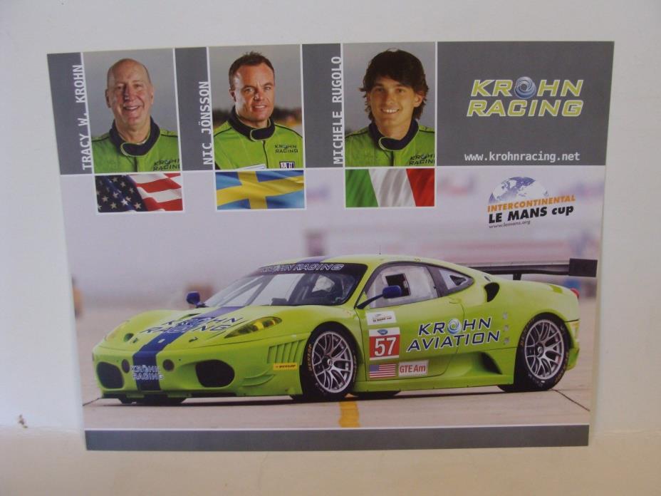 #57 Krohn Racing Intercontinental LeMans Cup  Sports Car Road Racing Postcard