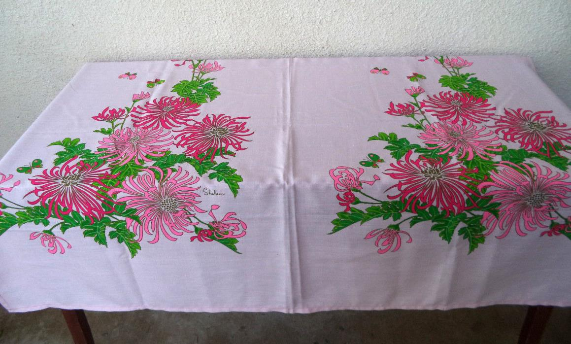 VTG Alfred Shaheen Hawaii FABRIC Hand Printed Double Panel Flowers Pink Linen