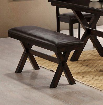 LYKE Home Padded Faux Leather Dining Bench