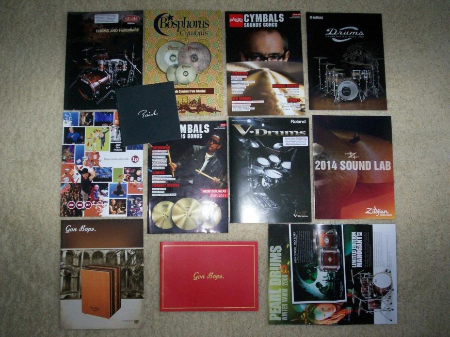 12 DRUM CATALOGS! yamaha tama paiste cymbal snare pearl lp zildjian kit set+