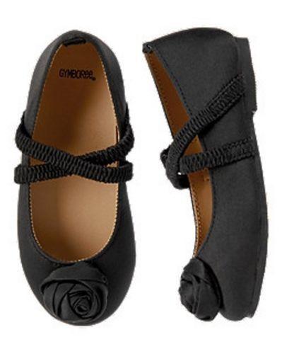 SZ 6 New Gymboree Black Rose Rosette Dress Shoe Holiday Baby Toddler Girl NWT