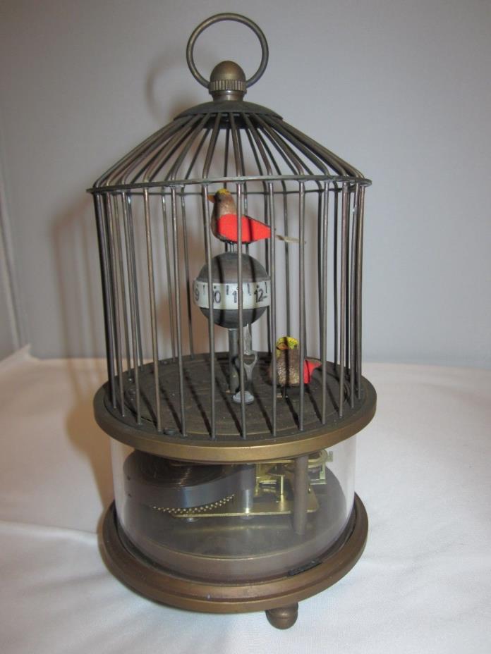 vintage brass bird cage clock novelyt clock working cond.