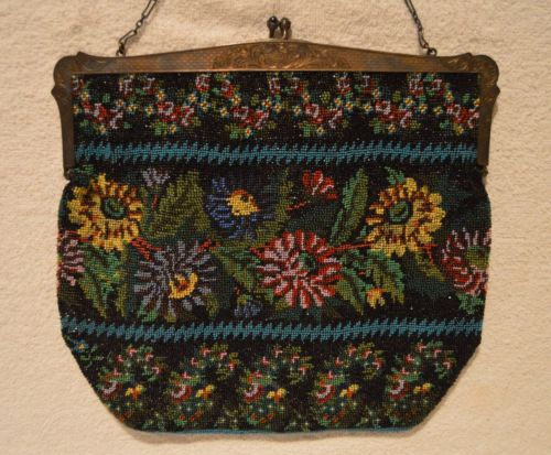 Antique Floral Micro Beaded Purse Evening Bag With Gorham Sterling Silver Frame
