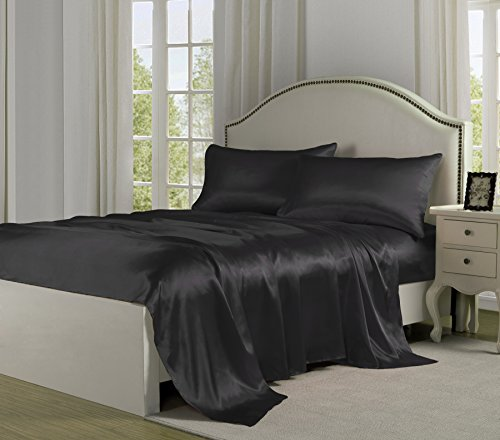 Satin Sheets - Bells & Whistles Luxury Linens Satin Charmeuse Sheet Sets (Full