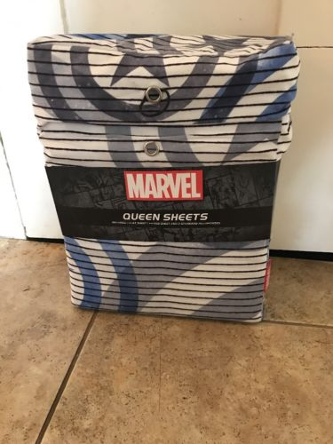 Marvel Bed Sheets. Captain America Superhero Blue White Grey Queen NWT