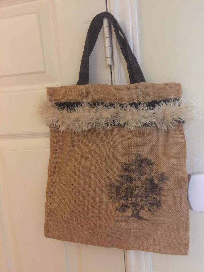 Burlap Handbag with Design