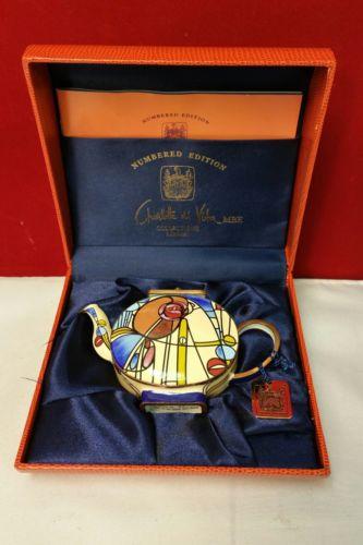 Charlotte di Vita 2003 Minature Teapot Hand Painted Enamel 66-975-39-2 with Box