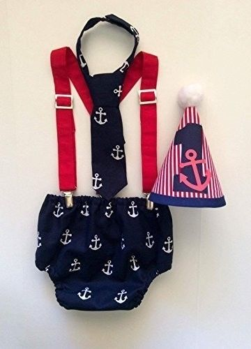 Nautical Anchor Boys Cake Smash First Birthday Outfit with Red Clip Suspenders a