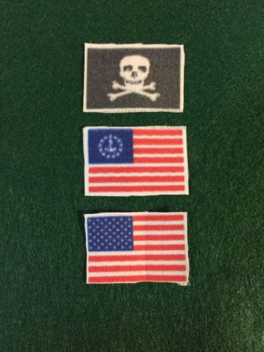 3-Miniature Silk Flags For Your Vintage Toy Boats Approx: 1 1/2