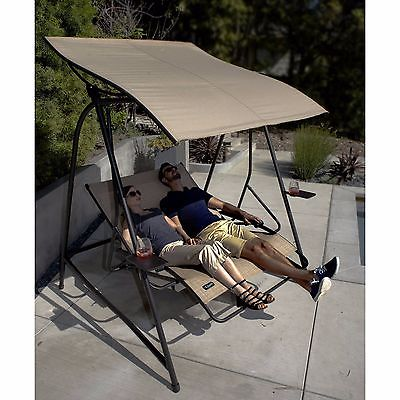 Canopy Lounge Swing Adjustable Recliner Seats Tray Reclining Chair Outdoor Patio