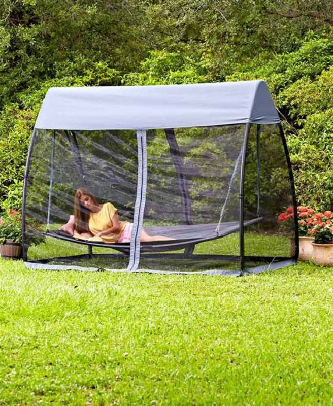 Suspended Camping Swing Hammock With Canopy Backyard Patio Relax