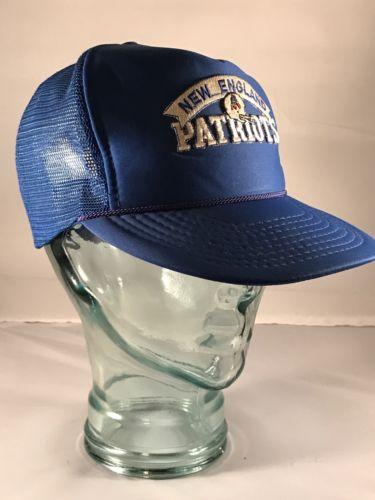 NEW ENGLAND PATRIOTS 80s Snap Back Hat PAT THE PATRIOT NFL Mesh Cord Trucker Cap