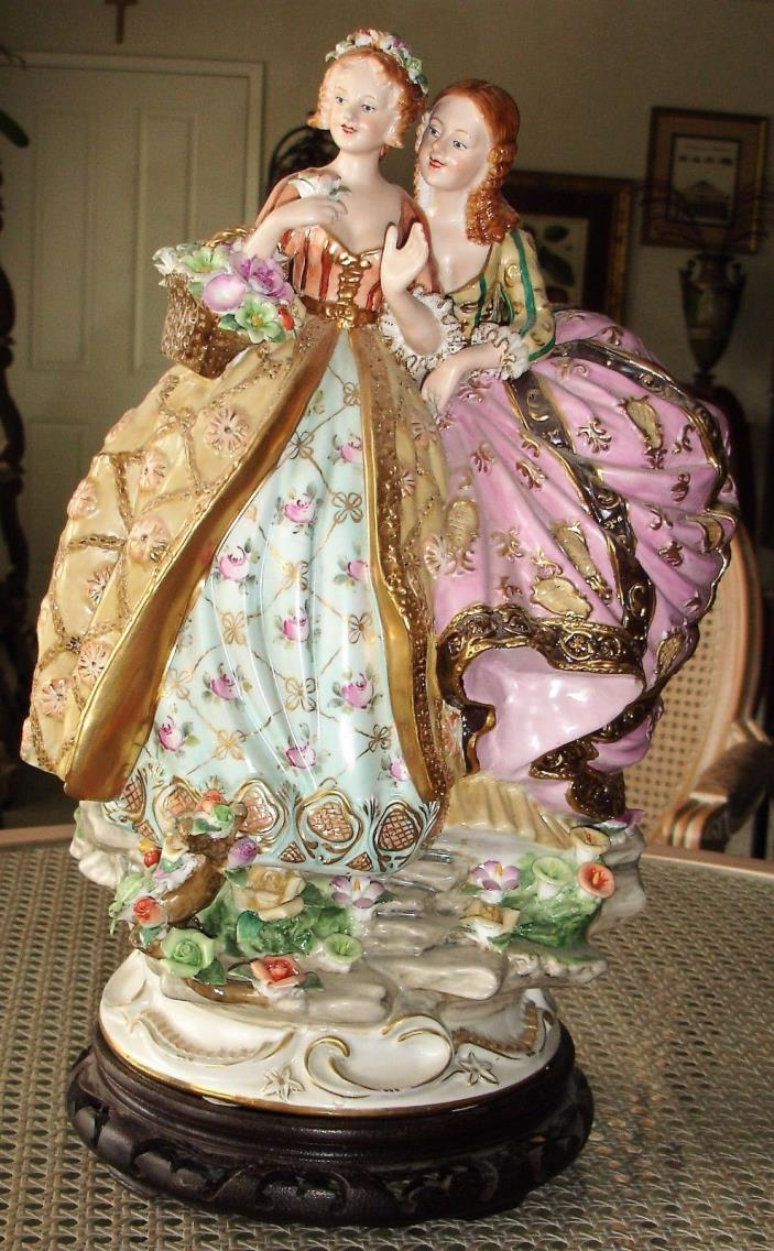 Large Dresden Germany Porcelain Figurine Statue Of Sisters