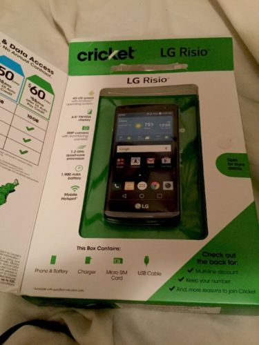 LG Risio Phone Cricket Mobile Pay As You Go No Contract In Box Used Great Shape
