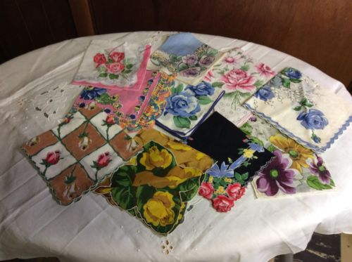 Vintage Lot 24 Hanky Hankies ALL ROSES