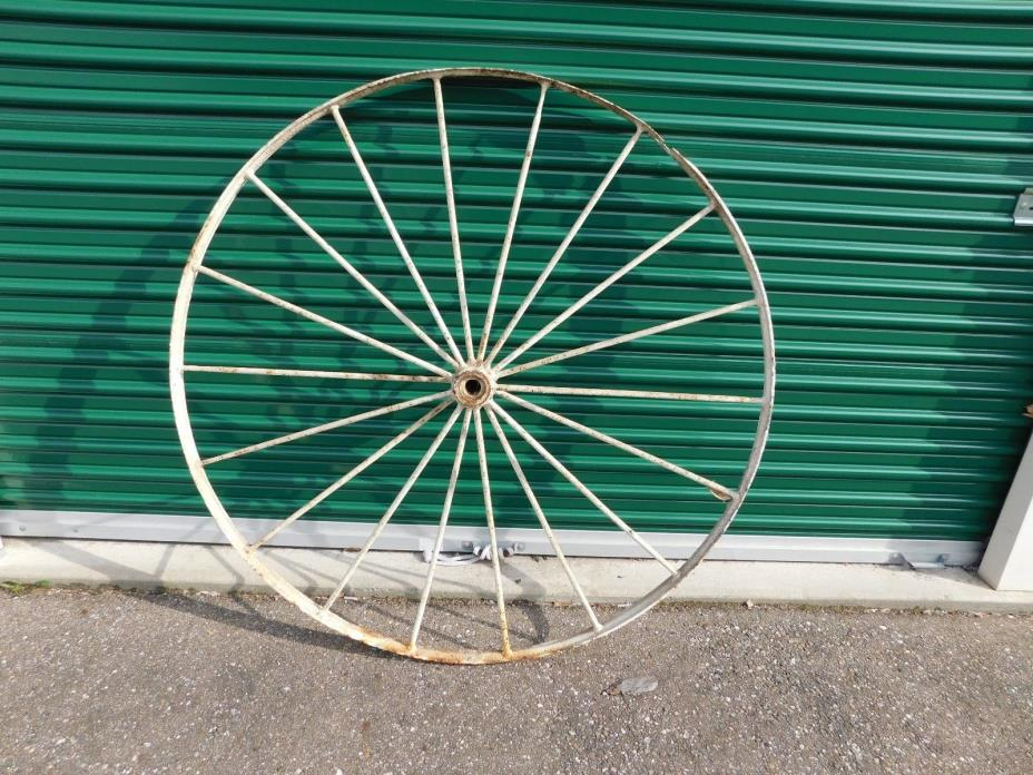 Pair of Vintage Antique Primitive Steel Spoke Wagon Wheels Farm tractor