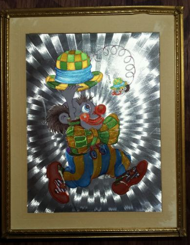 Vintage Framed Carnival Print, Clown with Derby Hat