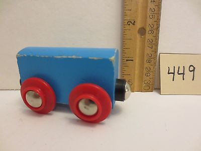 Blue Vintage Wooden Train Car Red Wheels for Wood Track Magnetic Hitch Brio Type