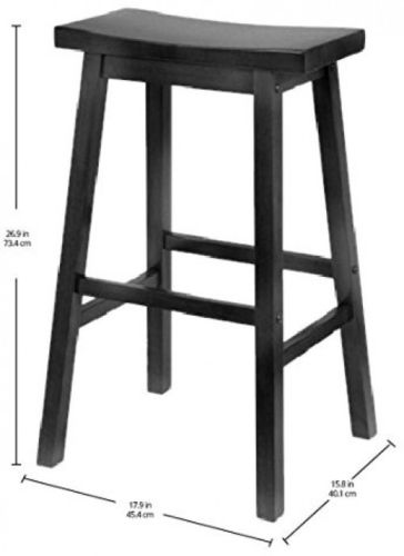 Square Wooden Seat Bar Stool For Kitchen Dining Room Home Counter Chair Black
