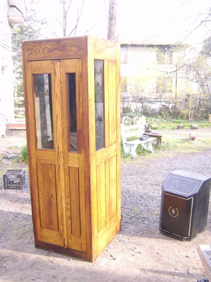 VINTAGE TELEPHONE BOOTH SOLID OAK 1920's ORIGINAL TIN INTERIOR AND LIGHT