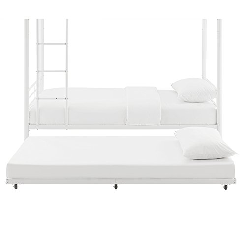 WE Furniture White Metal Roll Out Twin Trundle Bed Frame