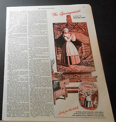 1946 THE SPRINGMAID DRAWN BY ROCKWELL KENT SPRINGS COTTON MILLS FABRICS ADVERT