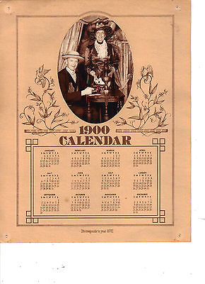 REPRODUCTION 1900 CALENDAR  WITH  PHOTO