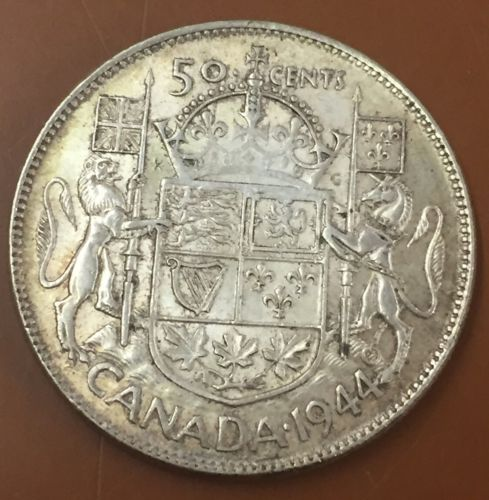 1944 Canada Silver Half Dollar 50 Cent Cents Canadian