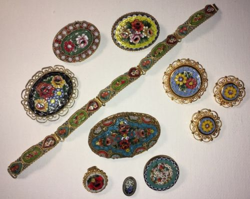 11pc MICRO MOSAIC PINS/EARRINGS/BRACELET LOT ??ITALY