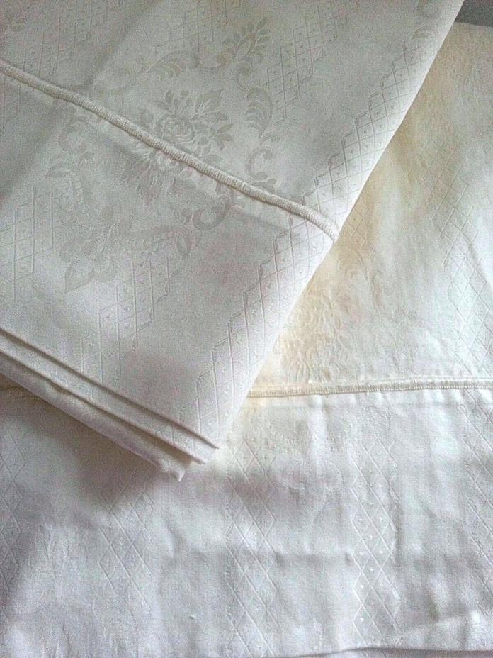 4pc LINEA CASA Yellow DAMASK KING Sheet Set 100% Egyptian Cotton ~ 470 Count