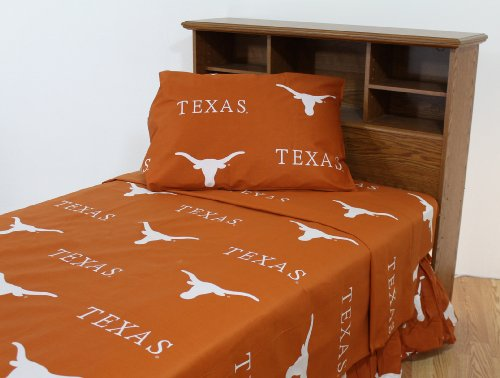 College Covers Texas Longhorns Printed Sheet Set - Queen - Solid