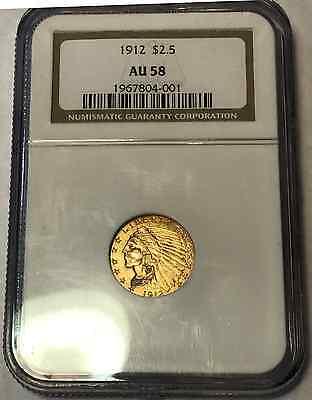 1912 $2.5 NGC AU 58 Indian Head GOLD Quarter Eagle! BEAUTY!!!