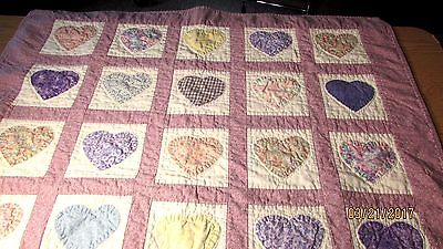 QUILTED HEART BABY BLANKET WALL HANGING THROW 37 X 43 1/2 PURPLE BLUE GINGHAM