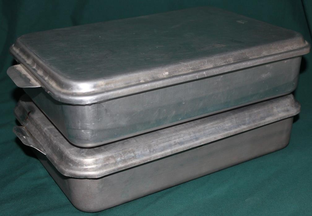 Two Vintage Aluminum Snap On Covered Rectangle Cake Pans Foley & Mirro 9 x 13