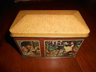 Vintage Walt Disney World Snow White Seven Dwarfs Cottage Candy Tin