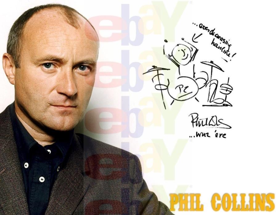 REPRINT RP Autographed 8x10 Color Photo Picture: Genesis Phil Collins sketch