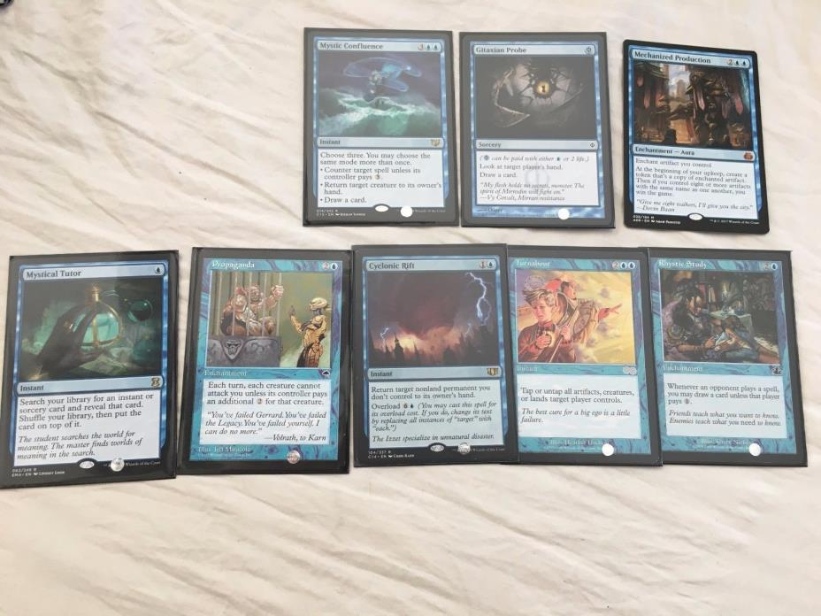 MTG Blue EDH Lot Rares Mythic Mystic Confluence tutor Cyclonic More Look!