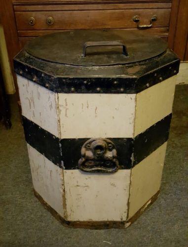 Antique Primitive Vintage 8 Sided Wooden Metal Ice Box chest Cooler Wine Beer