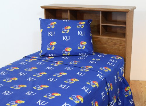 College Covers Kansas Jayhawks Printed Sheet Set - Queen - Solid